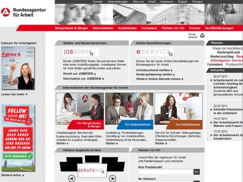 Screenshot Arbeitsamt